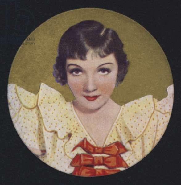 Claudette Colbert (colour litho)
