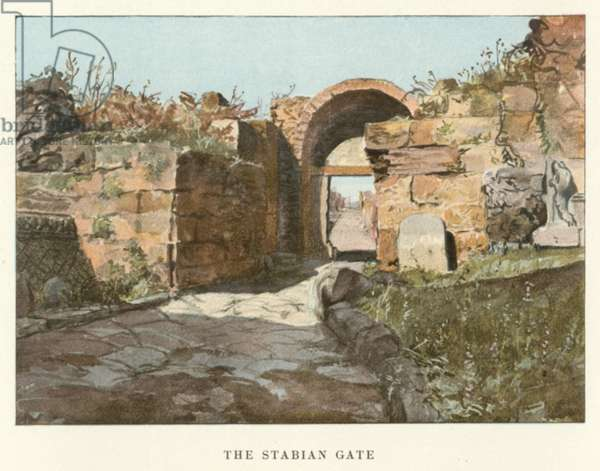 The Stabian Gate (colour litho)