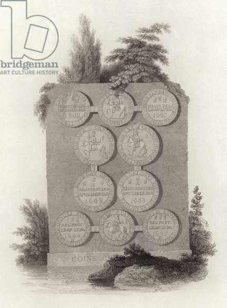 Coins of King Charles I during the English Civil War (engraving)