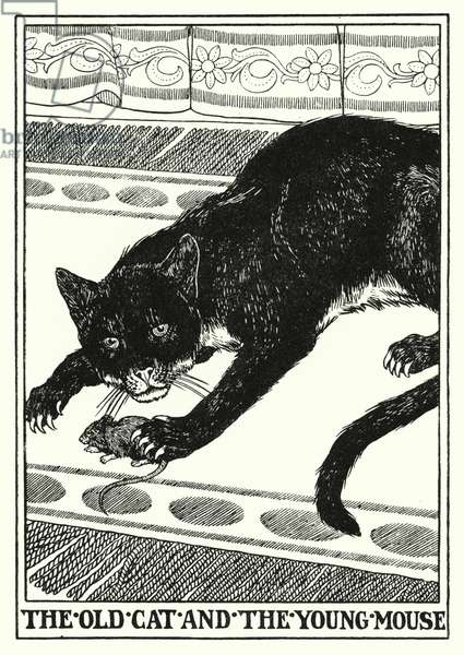 Fables of La Fontaine: The old cat and the young mouse (litho)