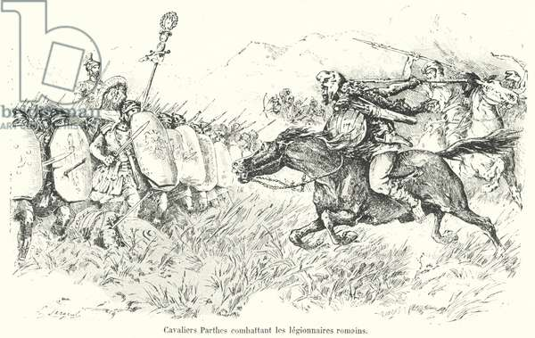 Parthian cavalry attacking Roman legionaries (engraving)