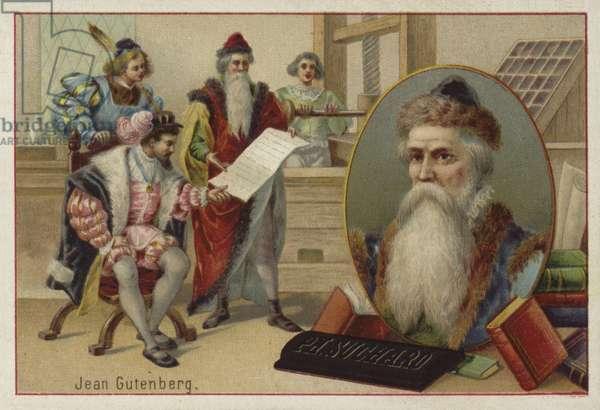 Johannes Gutenberg, German, engraver, inventor and printer (chromolitho)