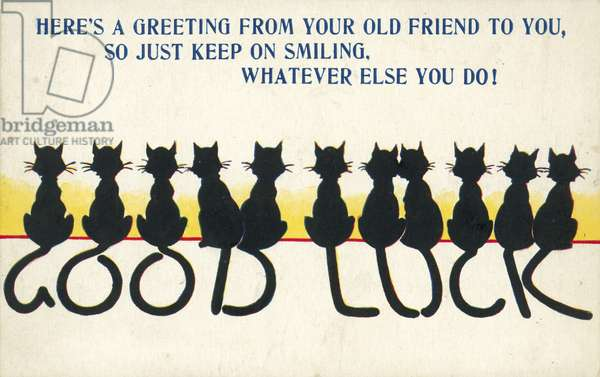 Greetings card with cats' tails spelling out a good luck message (colour litho)