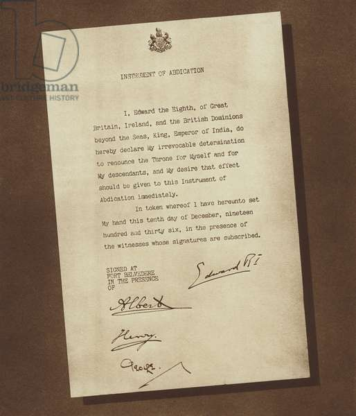 The Instrument of Abdication, signed by King Edward VIII and his three brothers (b/w photo)