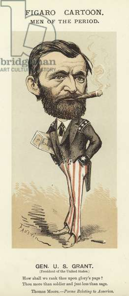 Caricature of Ulysses S Grant (colour litho)