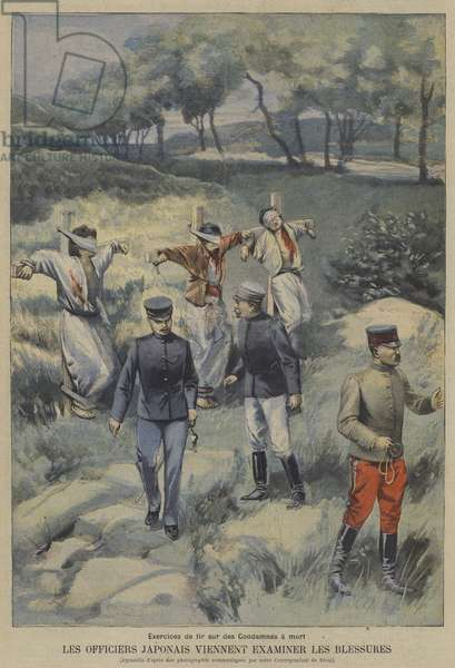 Japanese officers inspecting the wounds of three Koreans executed by firing squad (colour litho)