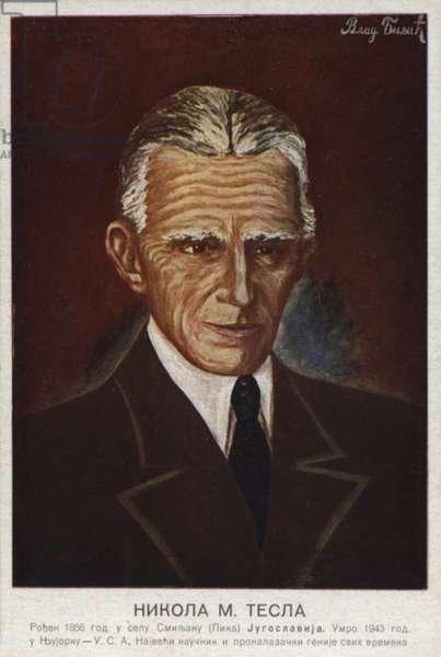 Nikola Tesla (colour litho)