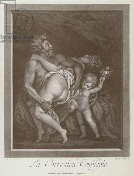 Marital correction, French cartoon, 18th Century (litho)