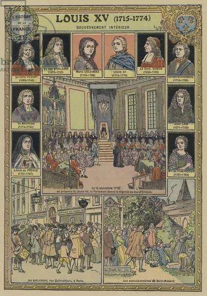 Government and home affairs during the reign of Louis XV of France, 1715-1774 (colour litho)