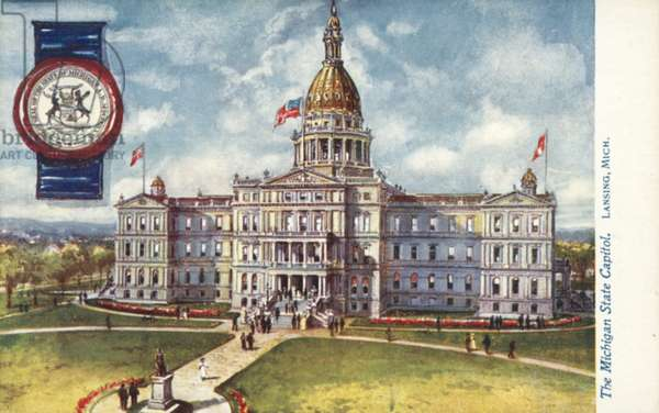 The Michigan State Capitol, Lansing, Michigan (colour litho)