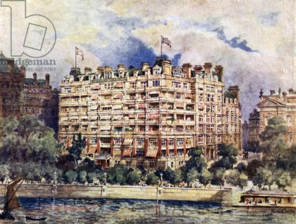 The River Front of the Savoy Hotel in 1889 (colour litho)