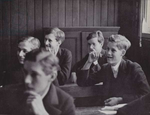 The lighter side of learning, a division in New Schools, Eton (b/w photo)