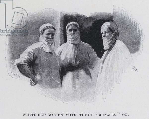 """White-bed women with their """"muzzles"""" on (b/w photo)"""