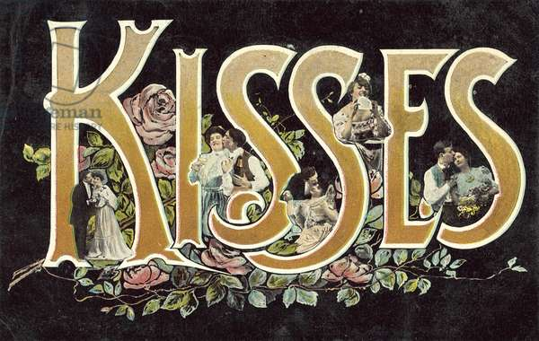 Kisses in surreal lettering (colour photo)