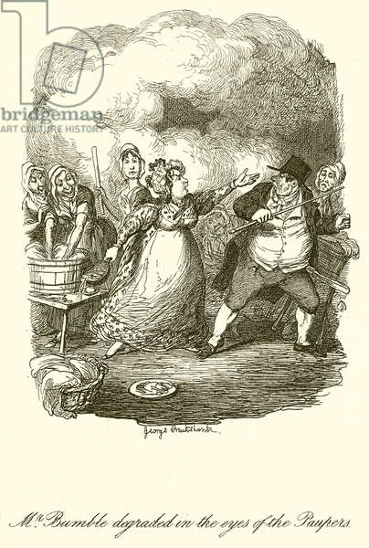 Mr. Bumble degraded in the Eyes of the Paupers (engraving)