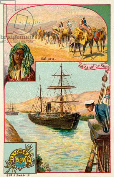 Suez Canal and Sahara Desert, Egypt (chromolitho)