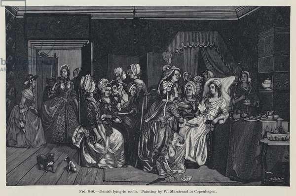 Danish lying-in room (litho)