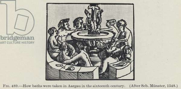 How baths were taken in Aargau in the sixteenth century (litho)