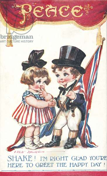 Peace: girl and boy representing the United States and Britain (colour litho)