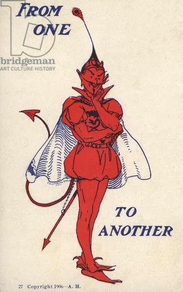 Devil in tudor dress (colour litho)