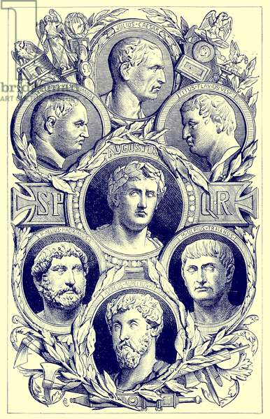 Roman emperors, illustration from 'The Illustrated History of the World', published c.1880 (digitally enhanced image)