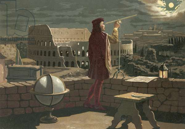 Copernicus observing in Rome an eclipse of the moon