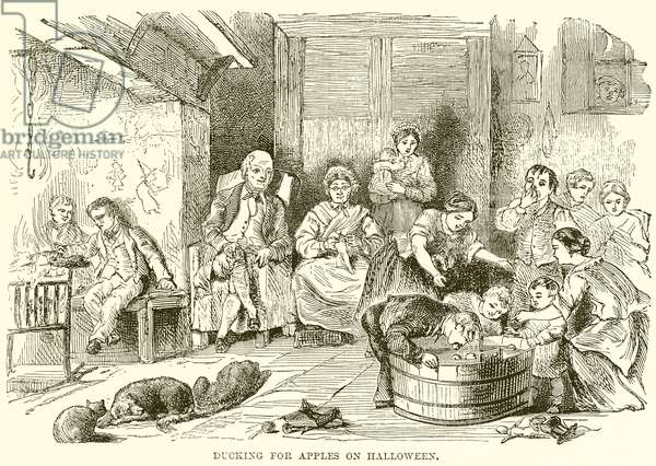 Ducking for Apples on Halloween (engraving)