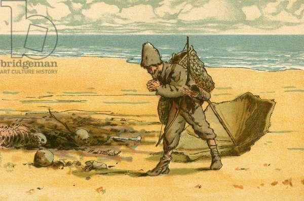 Robinson Crusoe sees the beach strewn with human skulls and human bones