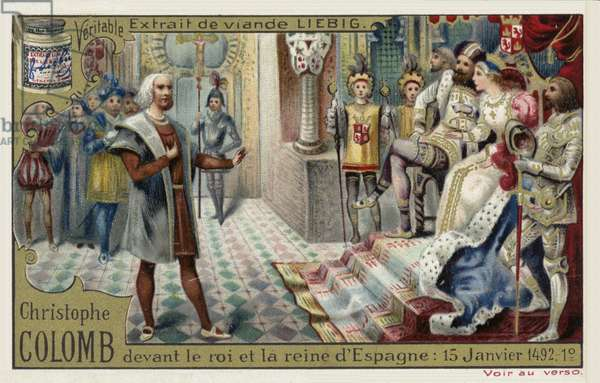 Christopher Columbus before the King and Queen of Spain, 15 January 1492 (chromolitho)