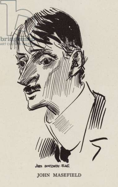 John Masefield, English poet and writer (litho)