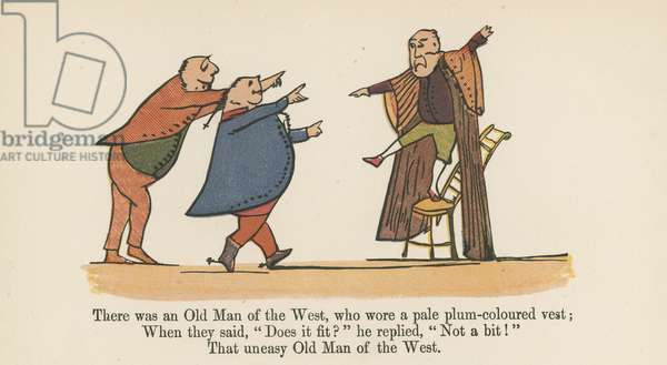 """""""There was an Old Man of the West, who wore a pale plum-coloured vest"""", from 'A Book of Nonsense', published by Frederick Warne and Co., London, c.1875 (colour litho)"""