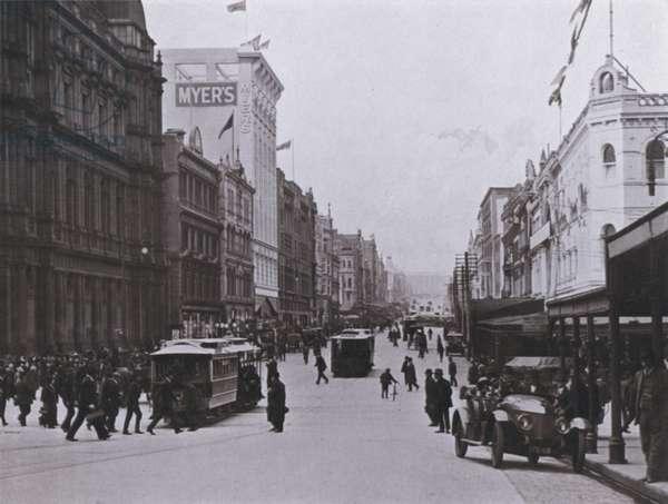 Bourke Street, Melbourne, looking East (b/w photo)