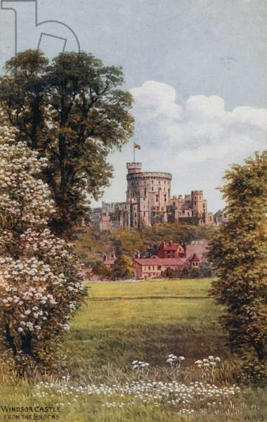 Windsor Castle, from the Brocas (colour litho)