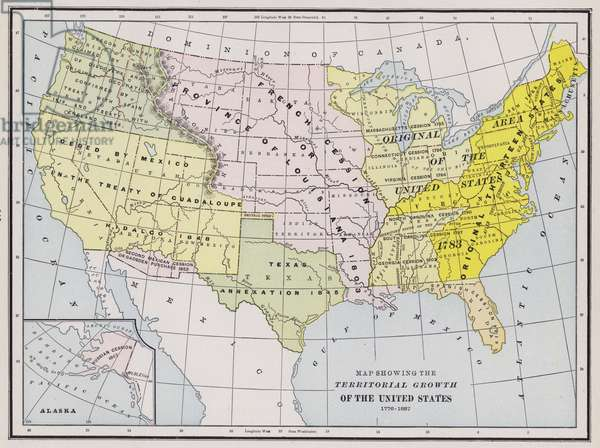 Map showing the territorial growth of the United States (coloured engraving)