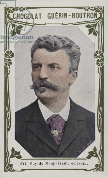 Guy de Maupassant, ecrivain (coloured photo)