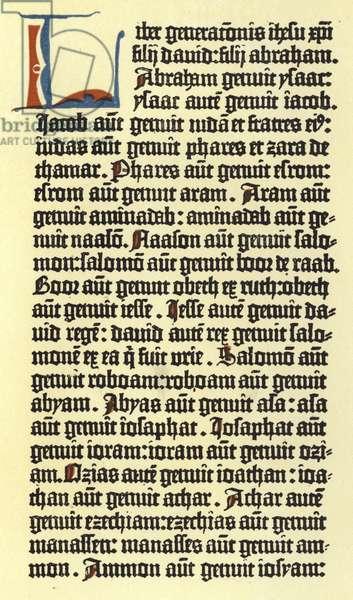Part of a column of Gutenberg's bible (colour litho)