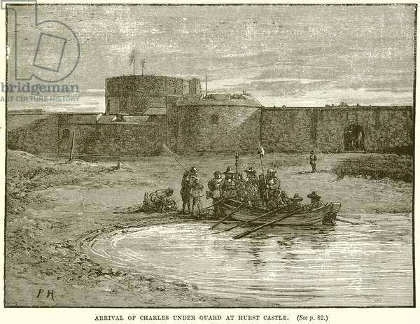 Arrival of Charles under Guard at Hurst Castle (engraving)