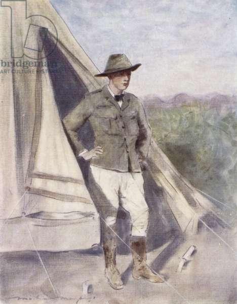 Winston Churchill as war correspondent (colour litho)