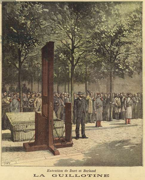 The guillotine used for the execution of Dore and Berland (coloured engraving)