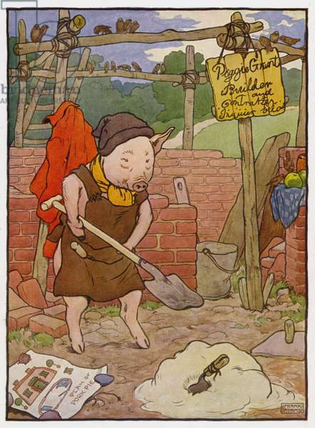 Illustration for The Three Little Pigs (colour litho)