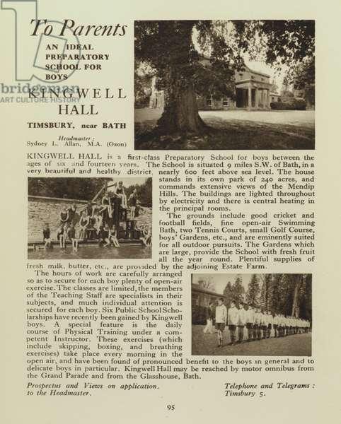 Kingwell Hall preparatory school for boys, Timsbury, near Bath, Somerset (b/w photo)