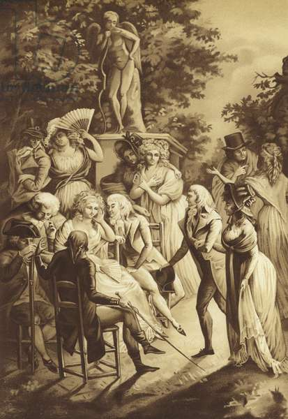A conference of Madame de Stael (litho)