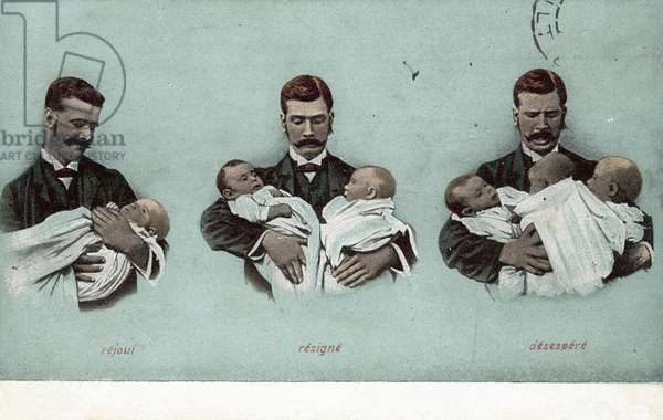 One Baby, Twins, Triplets (colour photo)