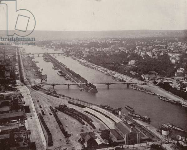 Paris: View of the Seine, West, from Eiffel Tower (b/w photo)