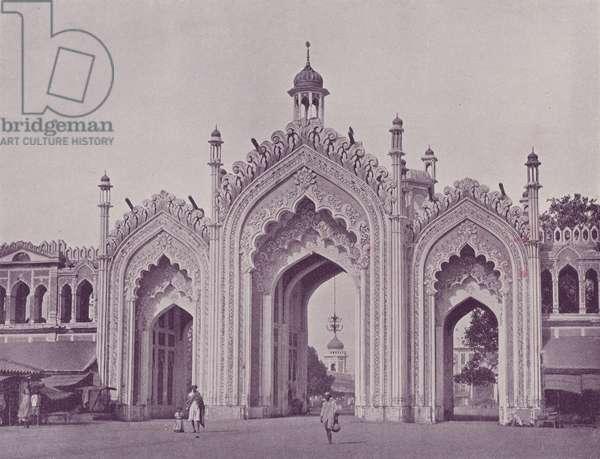 Gateway Husainabad Bazaar, Lucknow (b/w photo)