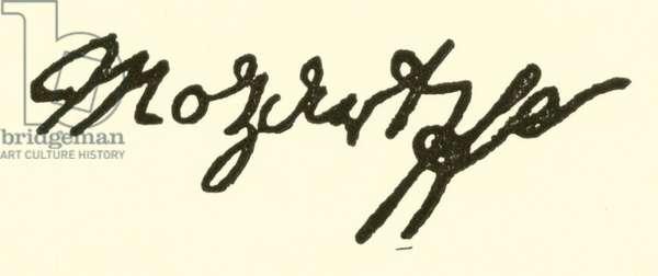 (Johann Georg) Leopold Mozart, 1719-1787, signature (engraving)