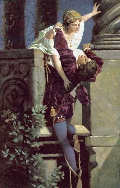 Balcony scene, Romeo and Juliet (colour litho)