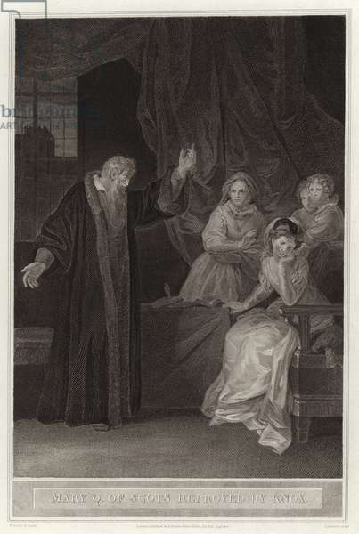 Mary Q of Scots reproved by Knox (engraving)