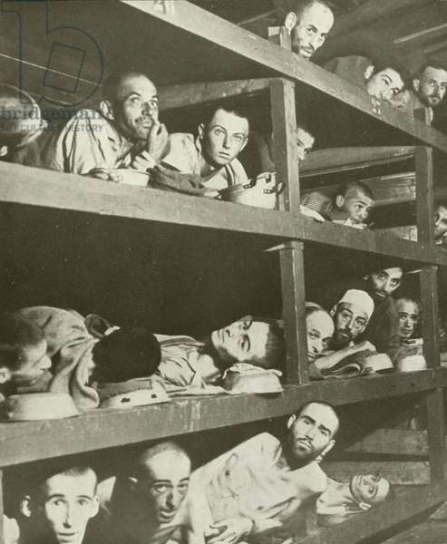 Slave workers in Buchenwald concentration camp (b/w photo)