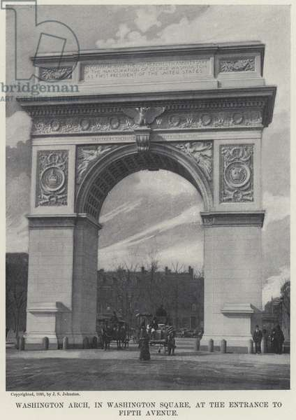 Washington Arch, in Washington Square, at the Entrance to Fifth Avenue (b/w photo)